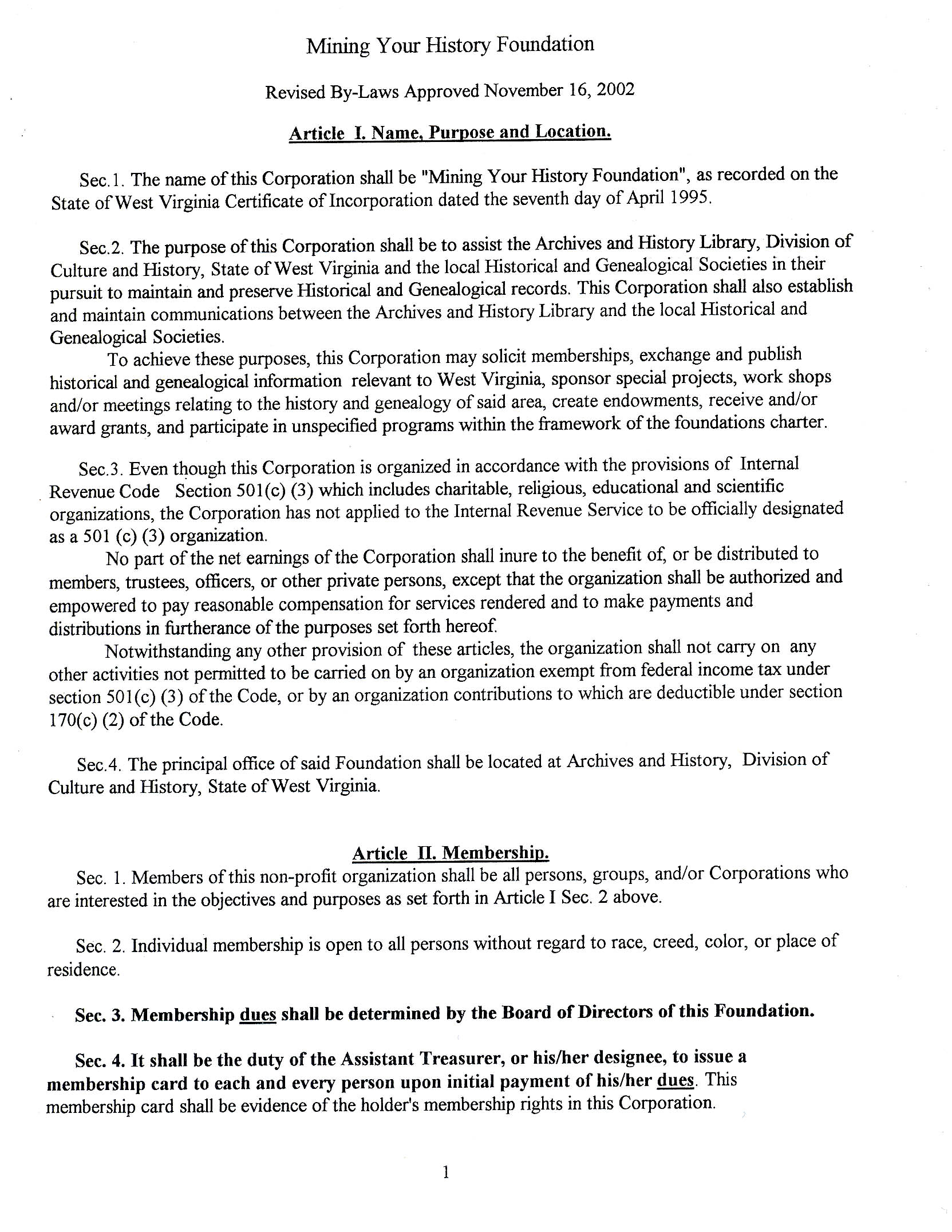 By Laws Page 1